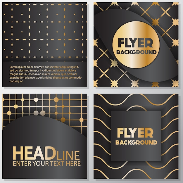 Black and gold flyer background design Vector Free Download