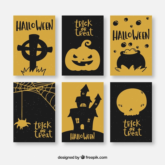 Black and gold halloween cards