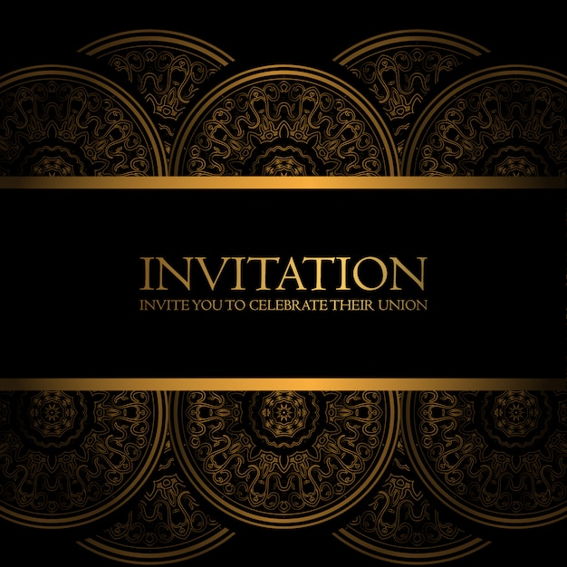 Black and gold invitation vector free download black and gold invitation free vector stopboris Image collections