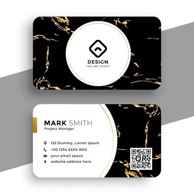 Черно-золотая мраморная визитка Бесплатные векторы