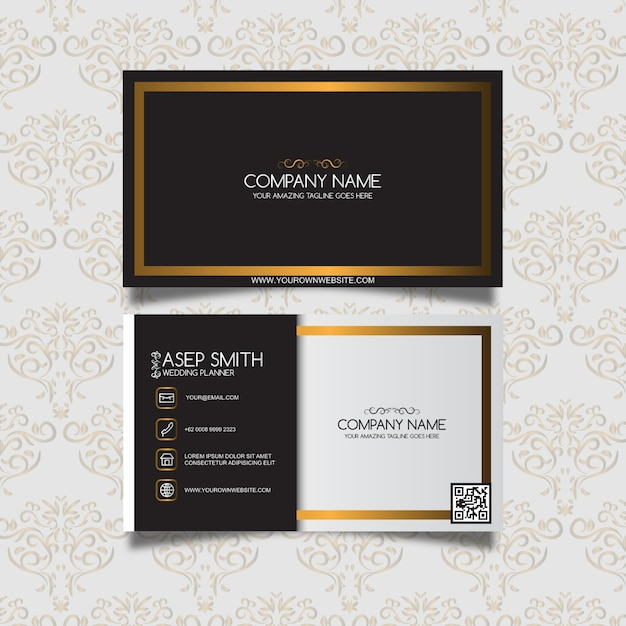 Black and gold ornamental business card Free Vector