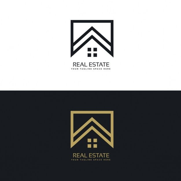Black And Gold Real Estate Logo With A Geometric Shapes Vector Free