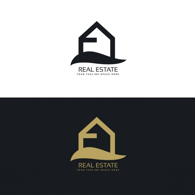Black and gold real estate logo with a house