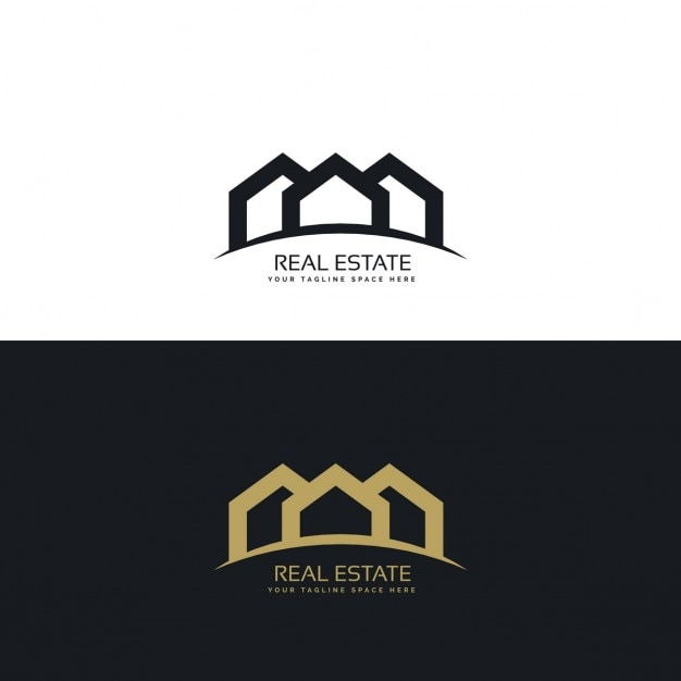 Black And Gold Real Estate Logo With Three Houses Vector