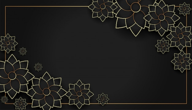 黒と金のスタイリッシュな花の装飾背景 無料ベクター