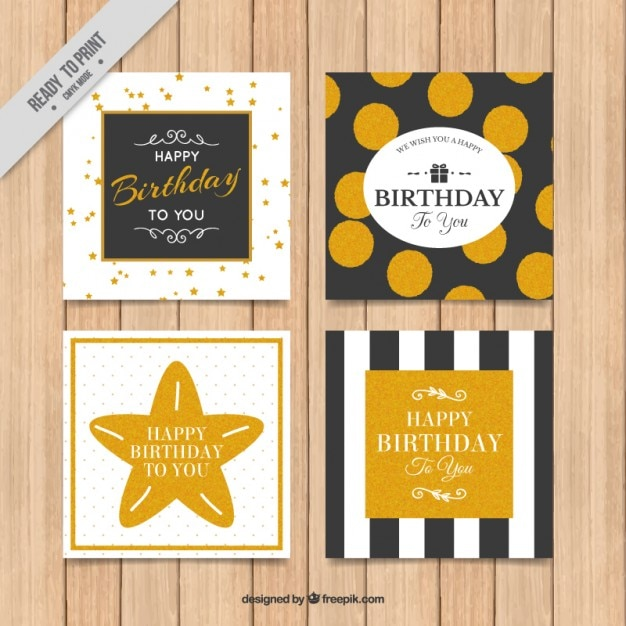 Black And Golden Birthday Cards Vector Free Download
