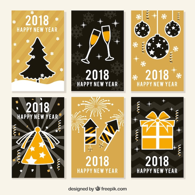Black and golden collection of new year cards