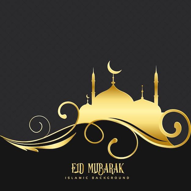 Black and golden design for eid mubarak Vector | Free Download