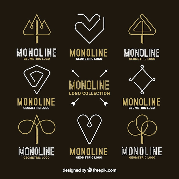 Black and golden monoline logo pack