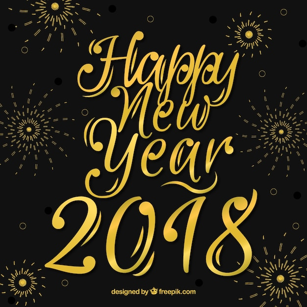black and golden new year background with lettering