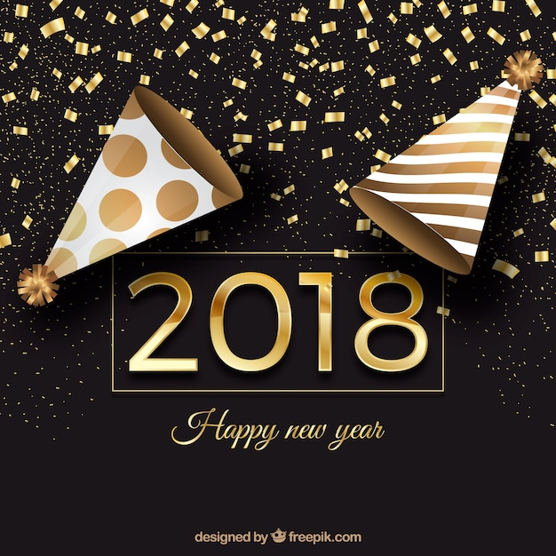 Black and golden new year background with party caps and confetti Free Vector