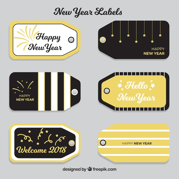 Black and golden new year tags