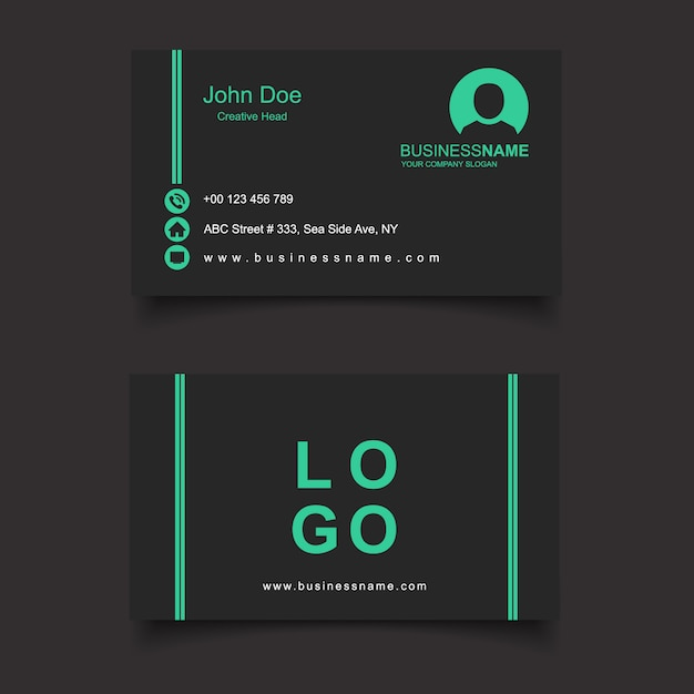 Black and green business card vector free download black and green business card free vector reheart Image collections