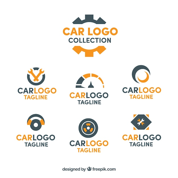 Black and orange car logo collection Free Vector
