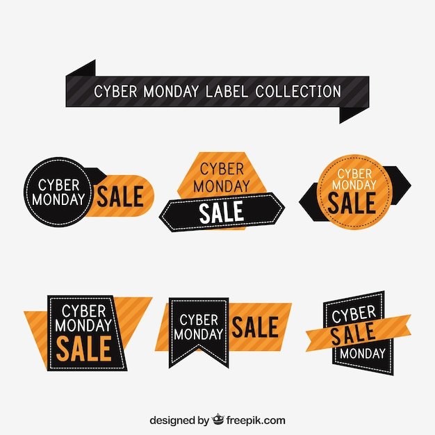 Black and orange cyber monday badges