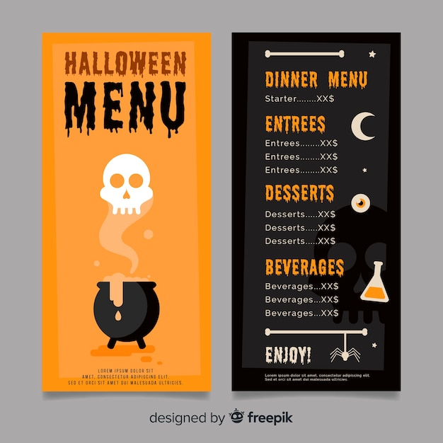 black and orange halloween menu template vector free download