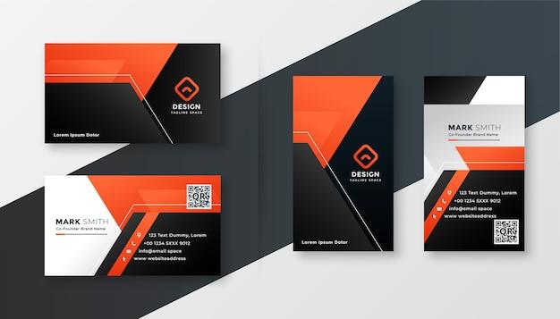 Черно-оранжевый современный геометрический дизайн визитной карточки Бесплатные векторы