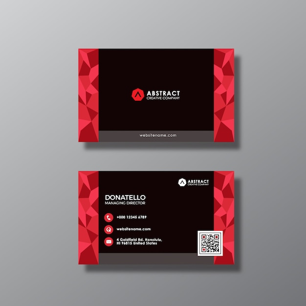 Black and red abstract business card design vector premium download black and red abstract business card design premium vector reheart Image collections