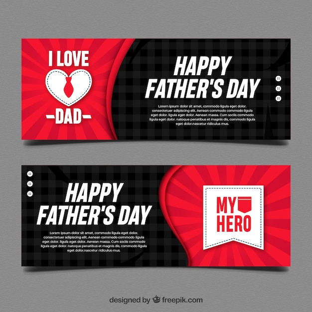 Black and red fathers day banners Free Vector