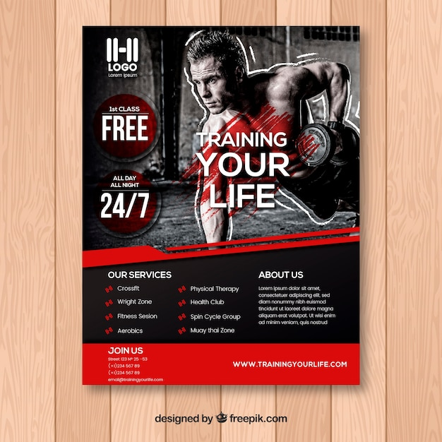 Black And Red Gym Flyer Template Vector  Free Download