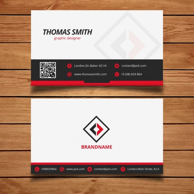 black and red modern business card template vector free
