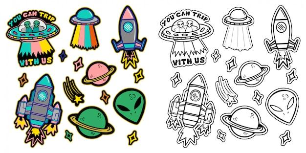 黒と白とカラフルなラインは、星のエイリアンufo宇宙船惑星とパッチステッカー付きのアイコンを設定します。 Premiumベクター