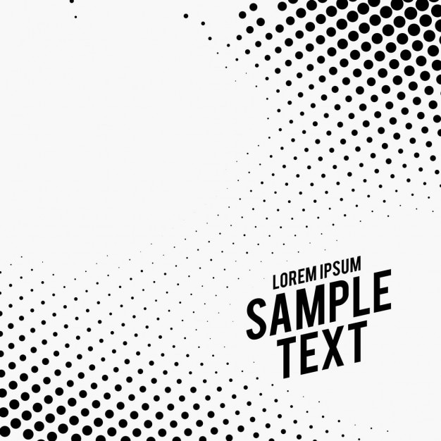 Black and white background, halftone dots Free Vector