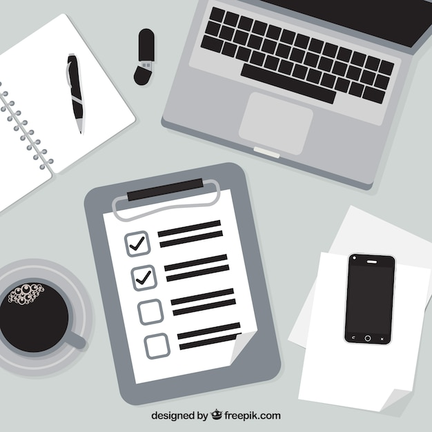 Black And White Background With Checklist And Office Supplies Free Vector