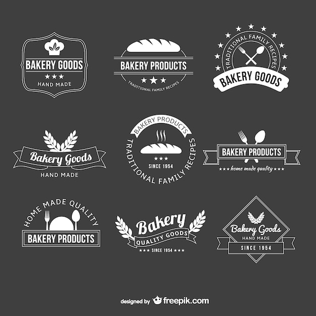 Black And White Bakery Logos Free Vector
