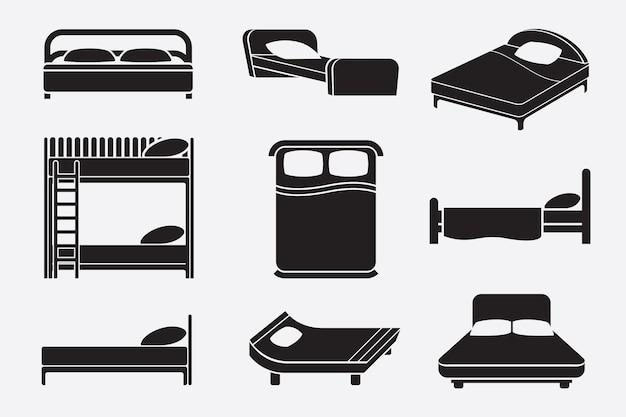 黒と白のベッドセット 無料ベクター