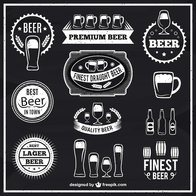 Black And White Beer Labels Vector  Free Download