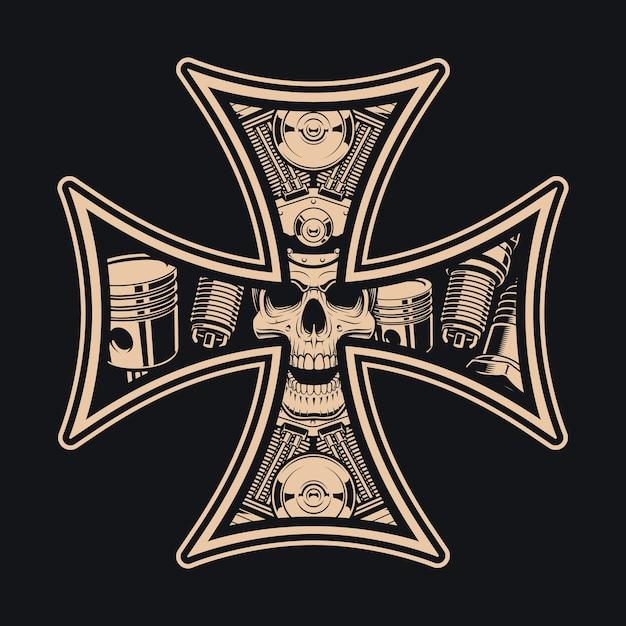 Черно-белый крест байкеров на темном фоне. идеально подходит для принтов на рубашках Premium векторы