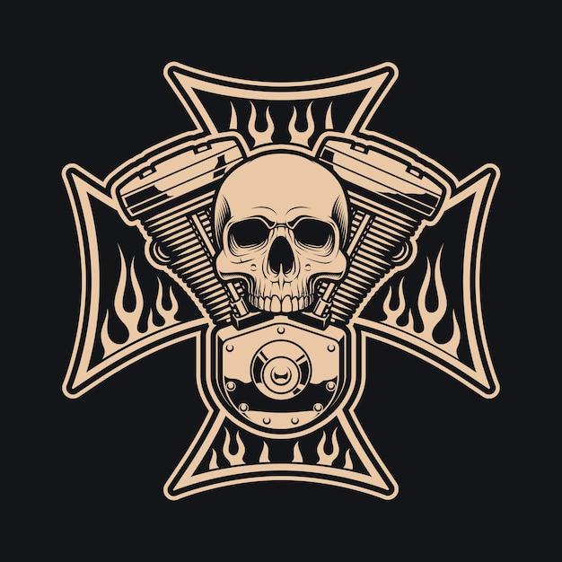 Черно-белые байкеры пересекают мотоциклетный двигатель. это может быть использовано как логотип, дизайн одежды. Premium векторы
