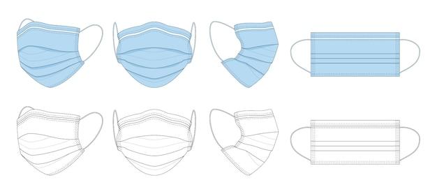 검은 색과 흰색, 파란색 손으로 그린 의료 마스크. 프리미엄 벡터