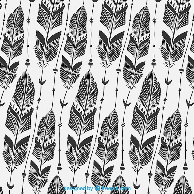 black and white boho pattern with big feathers free vector - Boho Muster