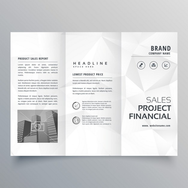Black and white brochure with polygonal shapes vector for Pop up brochure template
