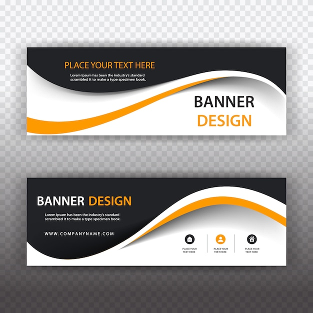Black and white business banner with orange details