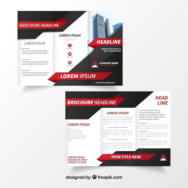 black and white business brochure with red details vector