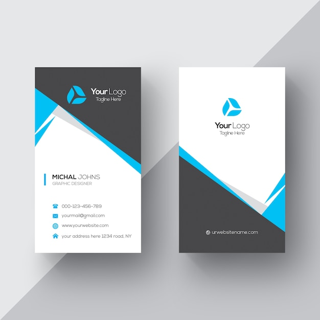 Black And White Business Card With Blue Details Vector | Free Download
