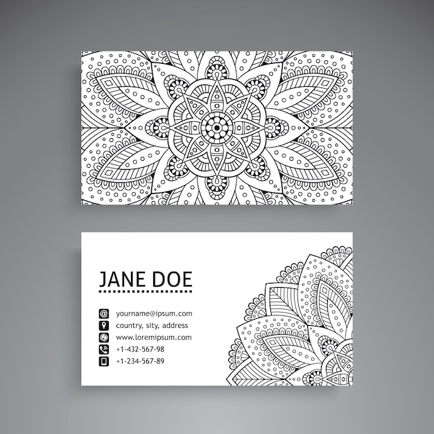 Black and white business card with mandala concept Vector ...
