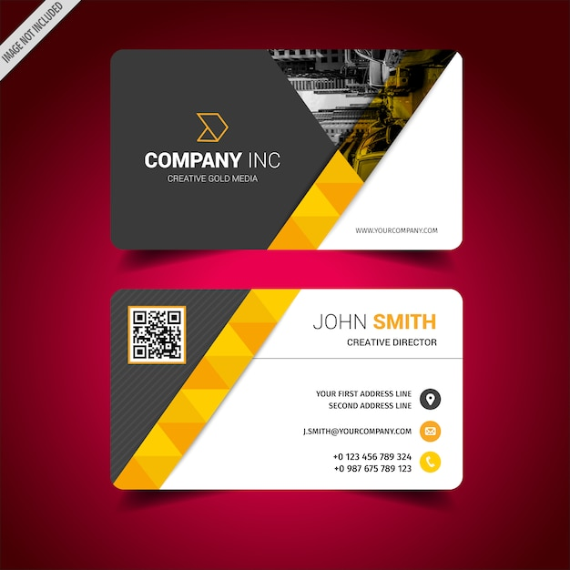 Black and white business card with yellow details vector premium black and white business card with yellow details premium vector reheart Choice Image