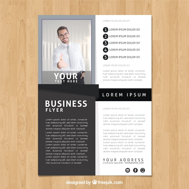 Black And White Business Flyer Template Vector Free Download