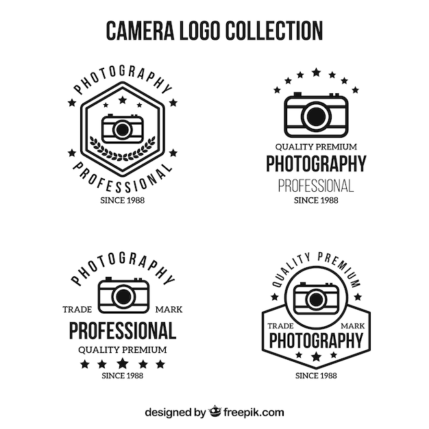 Black and white camera logo collection