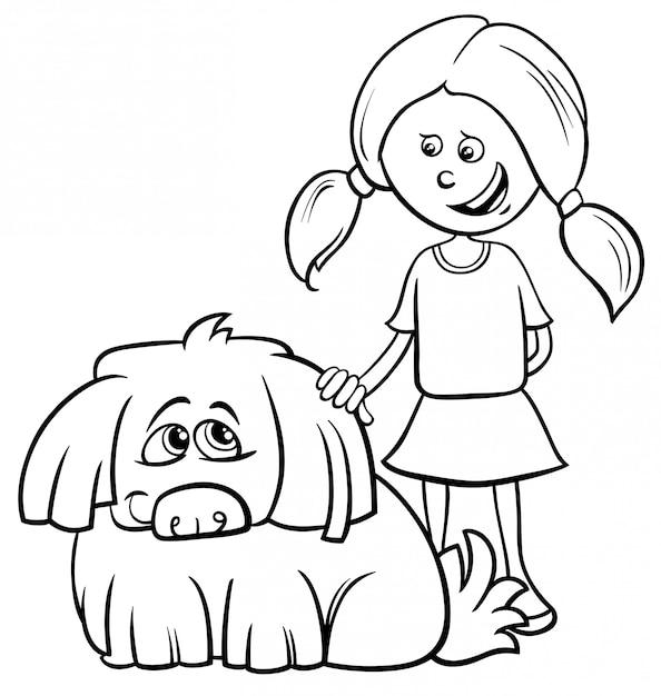 Черно-белая мультяшная иллюстрация девочки-мальчика с забавной лохматой собакой раскраски Premium векторы