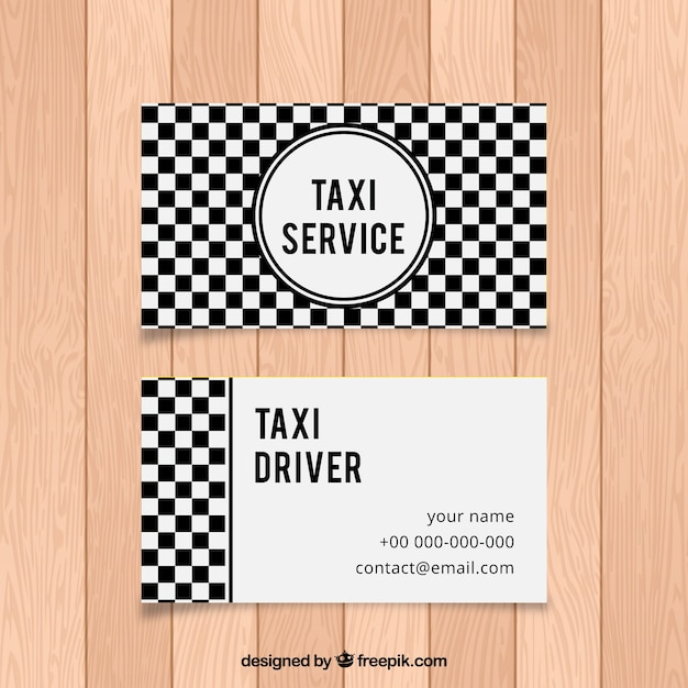 Black and white checkered abstract card of taxi driver Free Vector