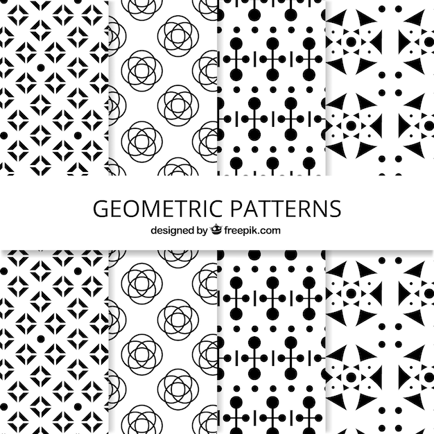 Black and white collection of geometric patterns