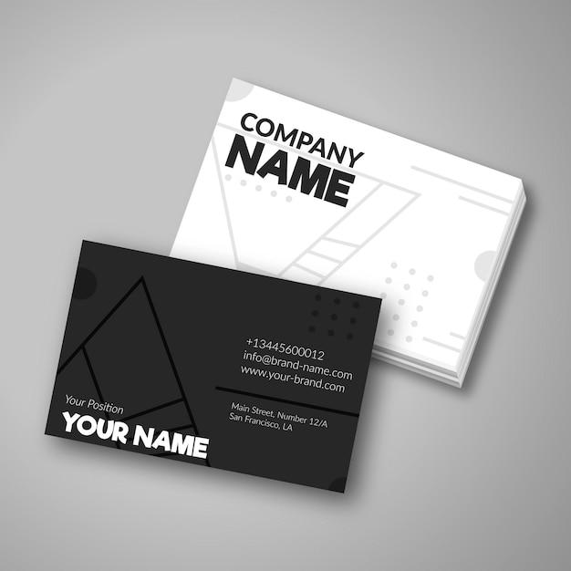 黒と白の会社カード 無料ベクター
