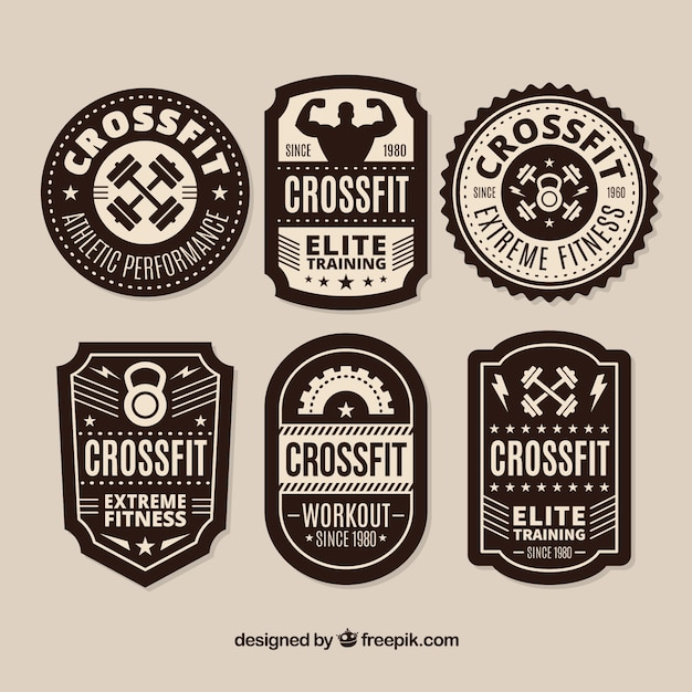 Black and white crossfit lable collection Free Vector