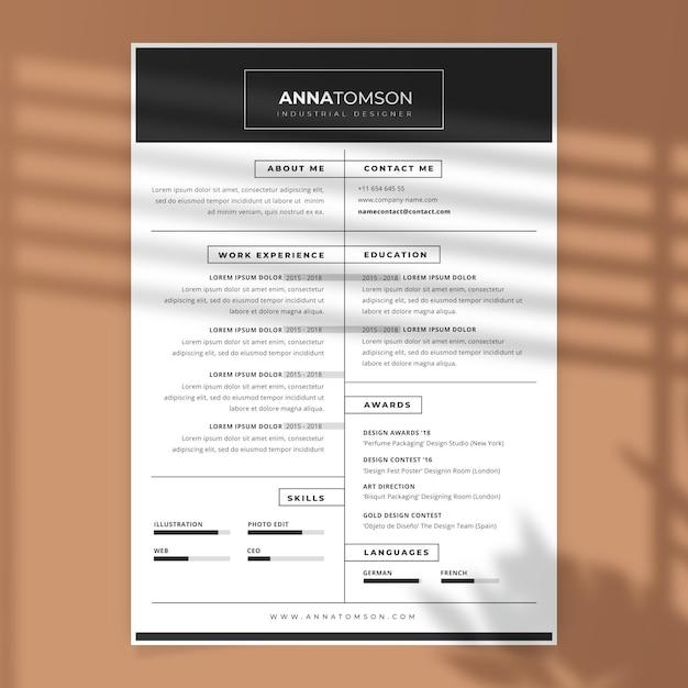 黒と白の履歴書テンプレート 無料ベクター