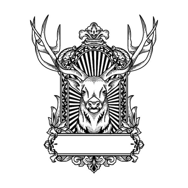 フレーム飾りの黒と白の鹿 Premiumベクター